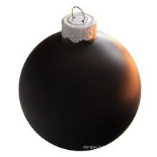 Boule de verre de Noël noire de 100 mm imprimable de haute qualité
