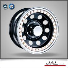 Black Finish Trailer Wheel Steel Car Wheels Rim with Golden Beadlock