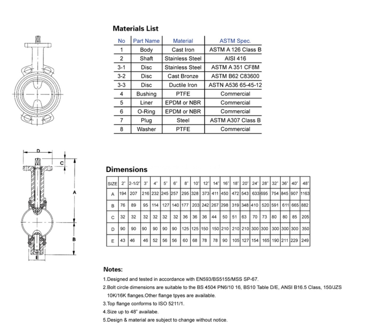 Drawing of wafer type butterfly valve