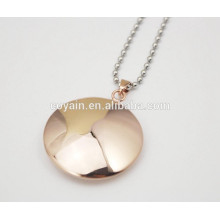 Stainless steel round necklace plated rose gold pendant for women