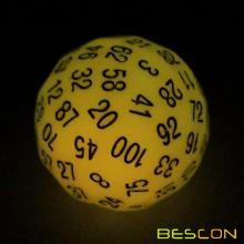 Bescon Glow in Dark Polyhedral 100 Sides Dice Glowing Yellow, Luminous D100 Dice, 100 Sided Cube, Glow-in-Dark D100 Game Dice