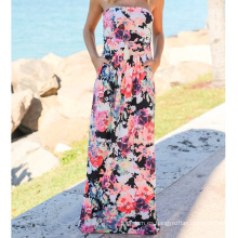 vestido caliente al por mayor del pecho de la manera que imprime los trajes nacionales ocasionales florales