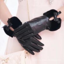 Lady Fashion Faux Fur Cuff Sheepskin Leather Dress Gloves (YKY5209-2)