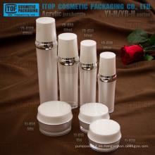 Venta caliente capas dobles por mayor de lujo atractivo y clásico ronda juegos de acrílico cosméticos envases y botellas