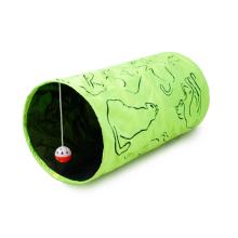 Cama verde da casa do jogo do animal de estimação de Terylene com o brinquedo de suspensão de 3 bolas para o túnel do gato