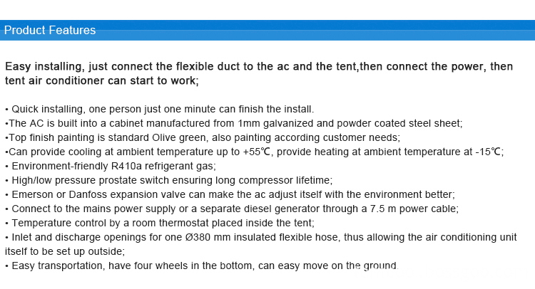 Tent Air Conditioner Features