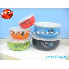 set of 5 enamel storage bowl with PP lid