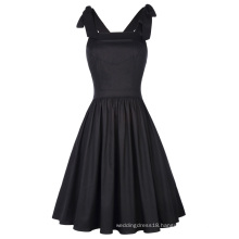 Kate Kasin Sexy Vintage Retro 50s Women's Sleeveless Cross Back Cotton A-Line Black Swing Dress KK000666-1