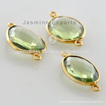 Позолоченные Разъемы Зеленый Аметист Драгоценный Камень