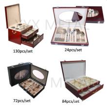 72, 84, 130 PCS Travel Portable Holzkiste Edelstahl Besteck Set