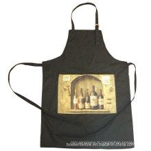 Promocionais feitos por encomenda 2 bolsos vinho preto impresso cozinha de algodão cozinhar o cozimento Bib Avental