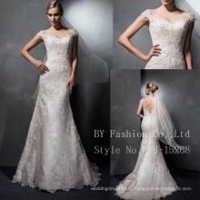 Люкс для новобрачных, одетых высокое качество линии короткие платья партии свадебные платья невесты русалка свадебные платья