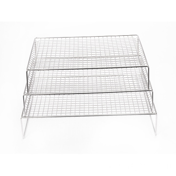 Kitchen metal baking cooling rack bread cake baking display rack stainless steel 3-layer biscuit cooling rack