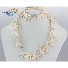 Natural Fresh Water Jewellery Pearl Set Biwa White Pearl Set Designs