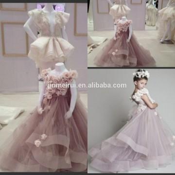 2014 новое Прибытие милая милая линии Cap длинным рукавом вечерние ручной работы Розы цветок дети одежда pageant платье девушки JFD053