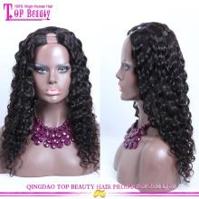 Высокое качество класс 7А девственница человеческих волос U часть парик афро кудрявый вьющиеся U часть парик