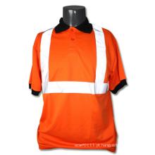 T-shirt alaranjado da polo de segurança da visibilidade elevada do poliéster da tira reflexiva (YKY2818)