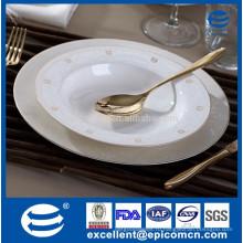 Оптовые костяные фарфоровые золотые оправы обеденные тарелки, оптовые оправы с золотым ободком Китайская обеденная тарелка