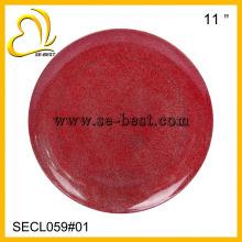 melamine plate new design red plastic round plate