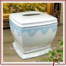 Предметы домашнего обихода Оптовая керамическая коробка хранения ткани салфетки фарфора
