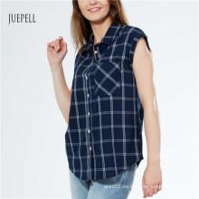 Grid Print algodón mujer camisa