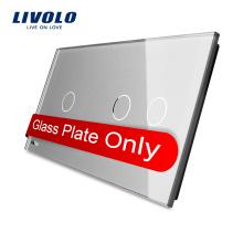 Livolo Роскошный Серый Закаленное Кристаллическое Стекло 151 мм * 80 мм Двойной Большой Стеклянная Панель Для Продажи VL-C7-C1 / C2-15