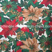 Tecido de algodão estampado de ouro com cor dourada, especialmente para o dia de Natal