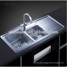 Handmade R10&R15 Stainless Steel SUS 304 Kitchen Sink with drainboard