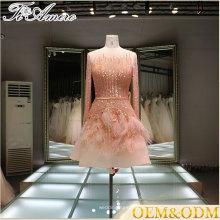 China nach Maß lange Hülse Minirock Pailletten applique Brautjungfer Hochzeitskleid