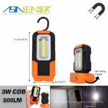 Base magnétique et accrochage, lampe de jour 5000K à batterie, 200 lumens, lampe de travail portative LED, lampe de poche multi-usage COB