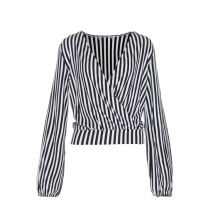 High Quality Custom Striped V Neck Loose Lady'S T-Shirts Blouse Casual Tops For Women