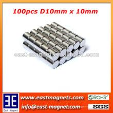 Imán del ndfeb de la barra de D10 * 10m m para la venta / imán del neodimio N35 ~ N52 para la venta
