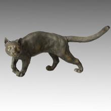 Animal Statue Cat Walking Bronze Sculpture, Milo Tpal-050