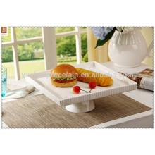 square ceramic cake stand with foot