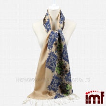 Наполовину цветочным принтом полутвердый простой цветной женский шарф