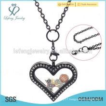 2015 stainless steel floating locket long link pendant neck