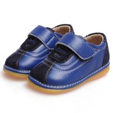 Marine-Veloursleder-Baby-Schuhe echtes Leder-weiche Schuhe