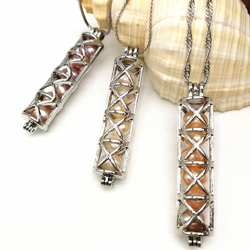 New Style 6pcs Pearl Beads Cage Pendant Necklace