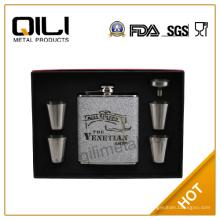 FDA 6oz Leder Flachmann Set Neuheit Geschenke mit Tasse, Trichter