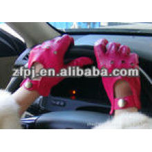 driving car hand gloves in pink fashion sex leather