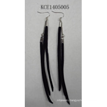 Black Leather Tassel Earrings with Metal