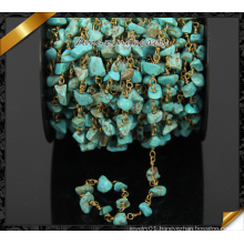Wholesale Natural Turquoise Chip Beads Chain, Cooper Rosary Chain (JD002)