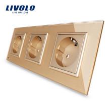Стандартные тройные розетки Livolo для ЕС 16А Розетка VL-C7C3EU-13