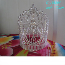 Wholesale Fashion pearl large pageant crowns full tall bulk rhinestone pageant tiaras