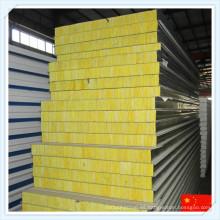 Material de construcción verde Panel de sándwich de lana de vidrio incombustible