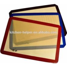 China fabricante FDA LFGB Padrão Food Grade Private Label Resistente ao calor Non-stick Silicone Fiberglass Baking Mat