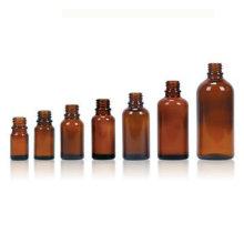 Botella de vidrio ámbar para aceites esenciales, cuello acabado DIN18