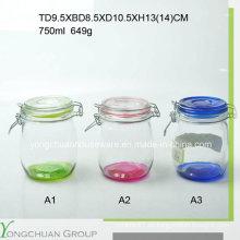 500ml 750ml 1000ml Frasco de almacenamiento de vidrio con clip tapa de cristal Canister de venta al por mayor