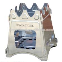 Ровер верблюда нержавеющая сталь складной дровяная печь открытый кемпинг портативный древесины плита 520g