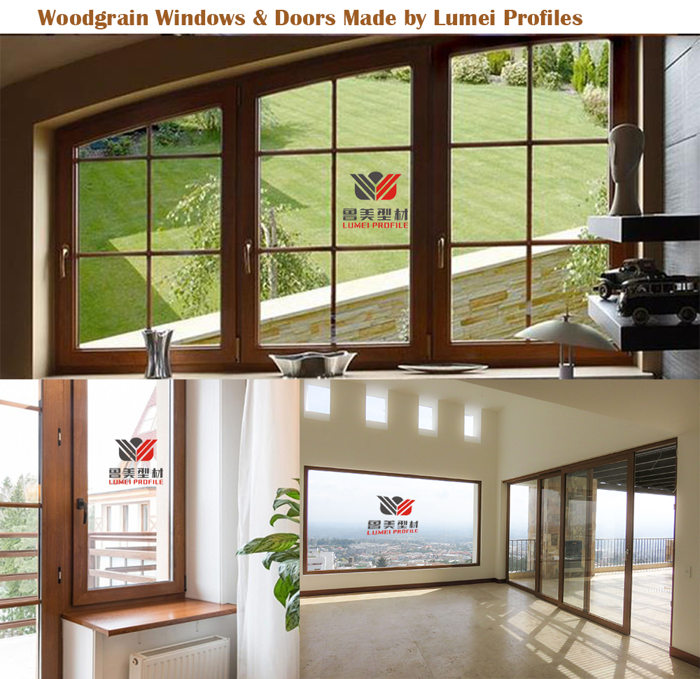 PVC Windows & Doors made by Lumei Woodgrain Profiles